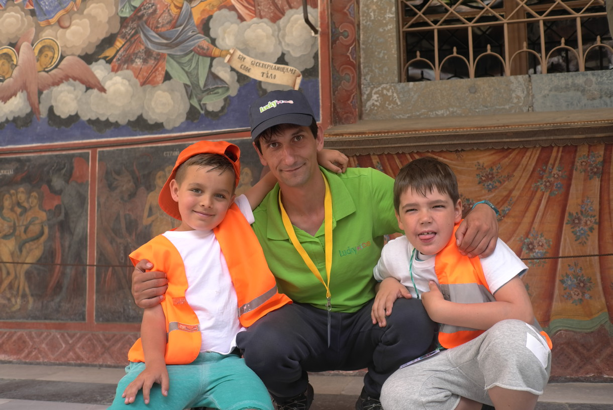 Children and animator in the Rila Monastery | Lucky Kids
