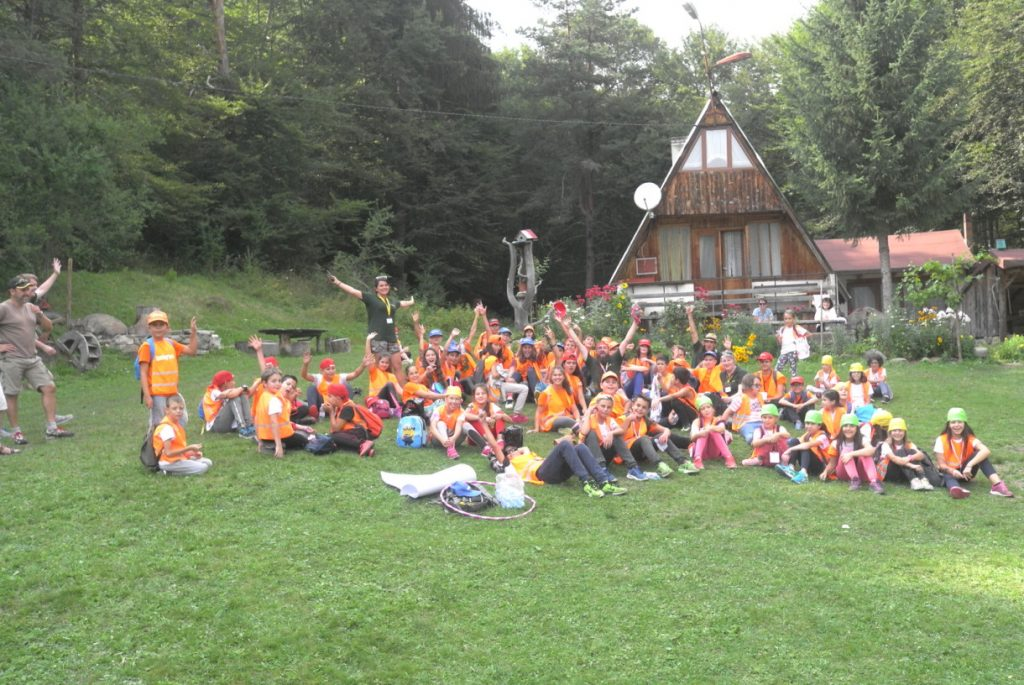 Children's summer camp on the grass